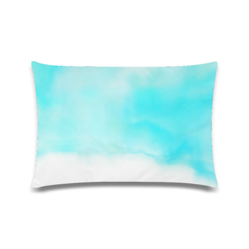 """blue - turquoise bright watercolor abstract Custom Zippered Pillow Case 16""""x24""""(Twin Sides)"""