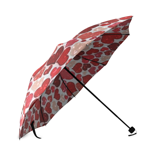 sparkling hearts, red Foldable Umbrella (Model U01)