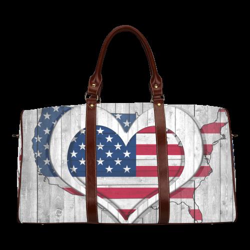 American Flag& Map Waterproof Travel Bag/Large (Model 1639)