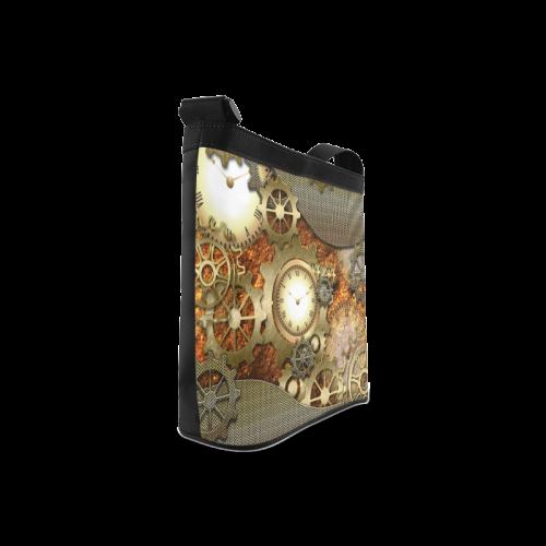 Steampunk, golden design, clocks and gears Crossbody Bags (Model 1613)