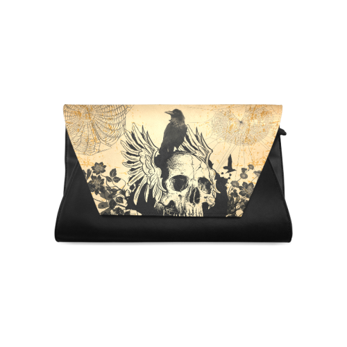 Awesome skull with crow Clutch Bag (Model 1630)