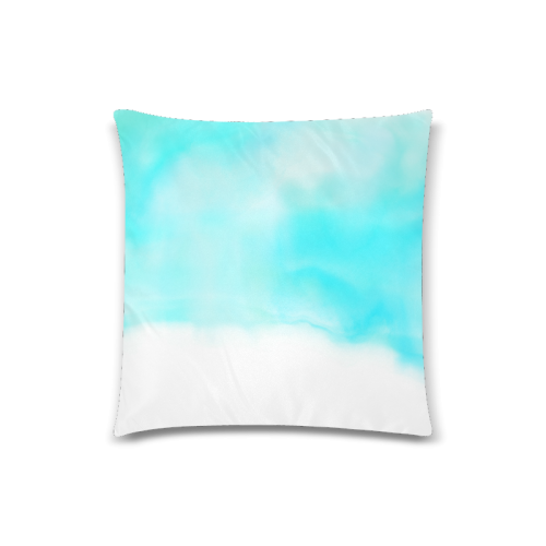 """blue - turquoise bright watercolor abstract Custom Zippered Pillow Case 18""""x18""""(Twin Sides)"""