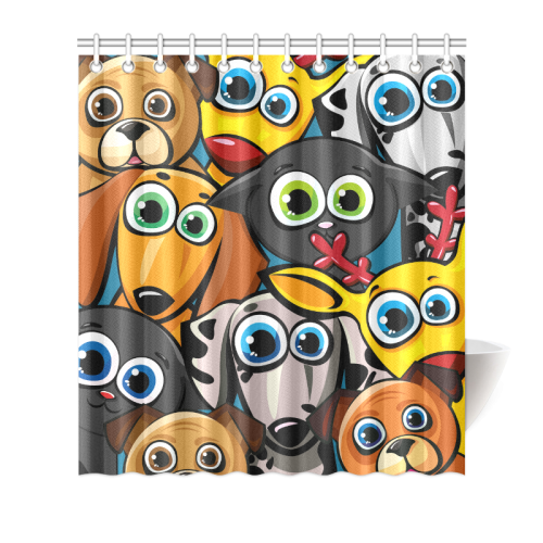 "Group of funny animals - cats, dogs and deer Shower Curtain 66""x72"""