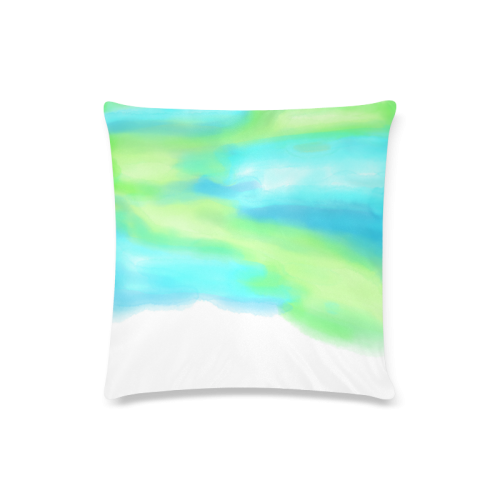 """blue green water color abstract art Custom Zippered Pillow Case 16""""x16""""(Twin Sides)"""