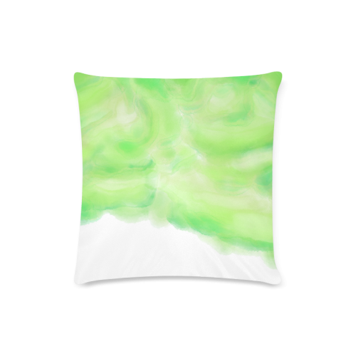 """bright green watercolor abstract art Custom Zippered Pillow Case 16""""x16""""(Twin Sides)"""