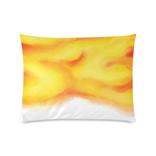 """yellow orange red water color abstract art Custom Zippered Pillow Case 20""""x26""""(Twin Sides)"""