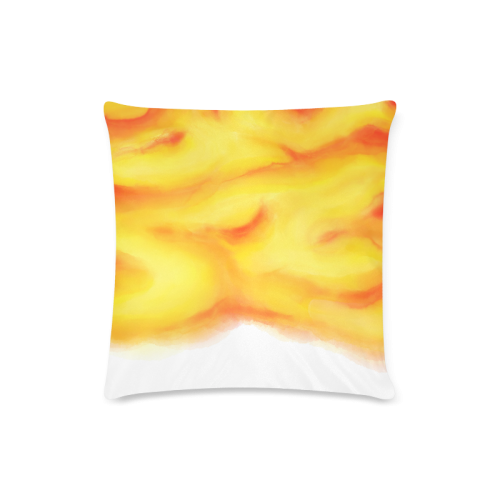 """yellow orange red water color abstract art Custom Zippered Pillow Case 16""""x16""""(Twin Sides)"""
