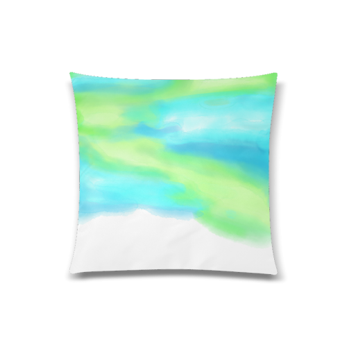 """blue green water color abstract art Custom Zippered Pillow Case 20""""x20""""(Twin Sides)"""