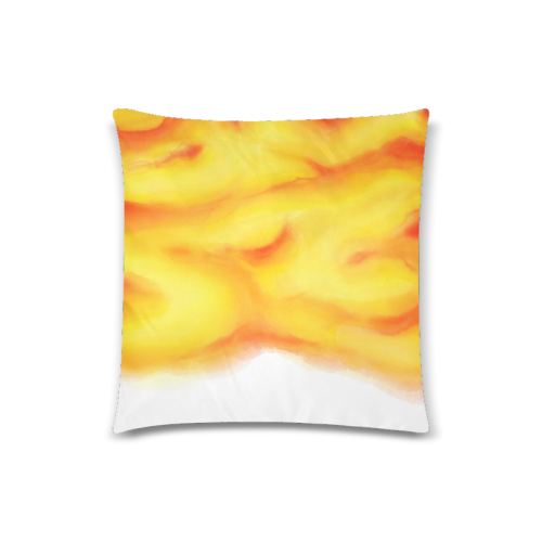 """yellow orange red water color abstract art Custom Zippered Pillow Case 18""""x18""""(Twin Sides)"""