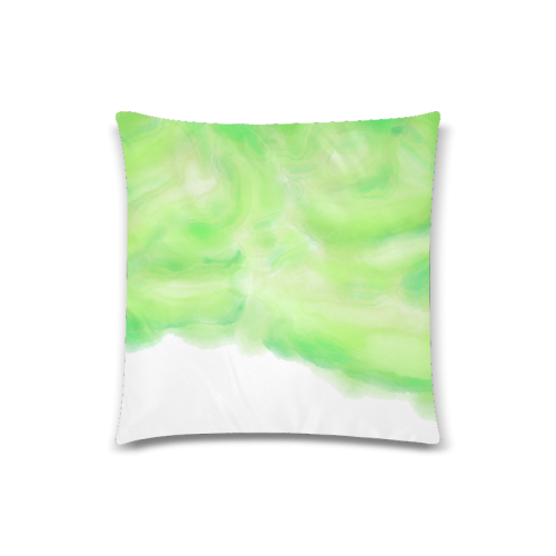 "bright green watercolor abstract art Custom Zippered Pillow Case 18""x18""(Twin Sides)"
