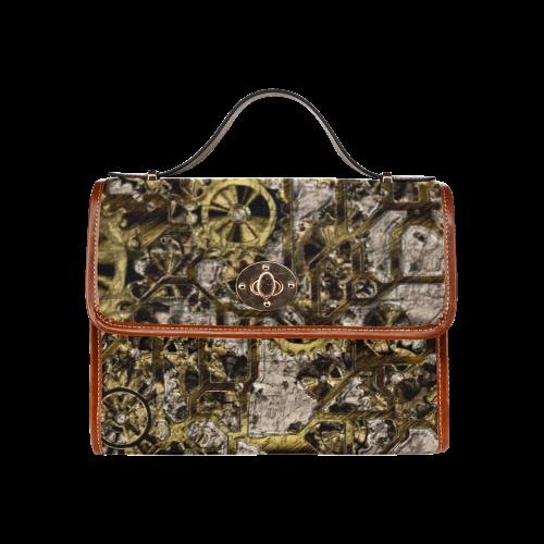 Metal Steampunk Waterproof Canvas Bag/All Over Print (Model 1641)