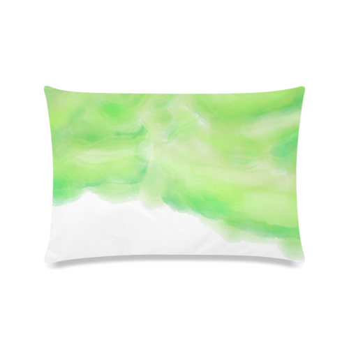 """bright green watercolor abstract art Custom Zippered Pillow Case 16""""x24""""(Twin Sides)"""