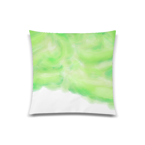 "bright green watercolor abstract art Custom Zippered Pillow Case 20""x20""(Twin Sides)"