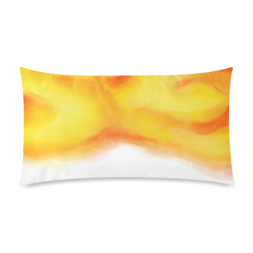 "yellow orange red water color abstract art Rectangle Pillow Case 20""x36""(Twin Sides)"