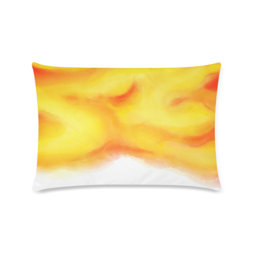 """yellow orange red water color abstract art Custom Zippered Pillow Case 16""""x24""""(Twin Sides)"""