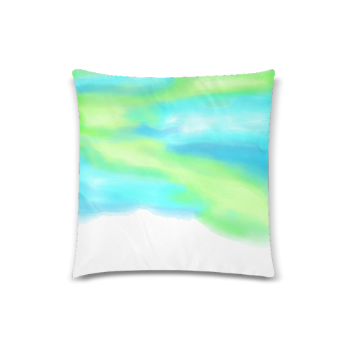 "blue green water color abstract art Custom Zippered Pillow Case 18""x18""(Twin Sides)"