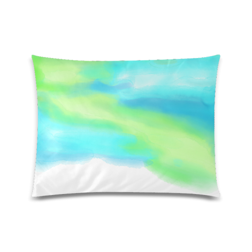 """blue green water color abstract art Custom Zippered Pillow Case 20""""x26""""(Twin Sides)"""