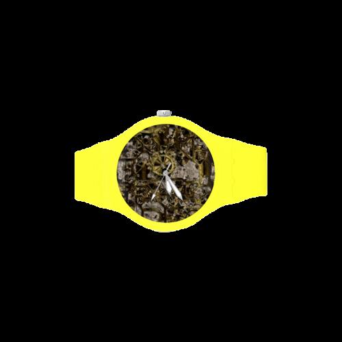 Metal Steampunk Unisex Round Rubber Sport Watch(Model 314)
