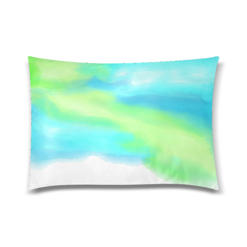 """blue green water color abstract art Custom Zippered Pillow Case 20""""x30""""(Twin Sides)"""