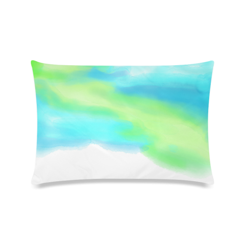 """blue green water color abstract art Custom Zippered Pillow Case 16""""x24""""(Twin Sides)"""