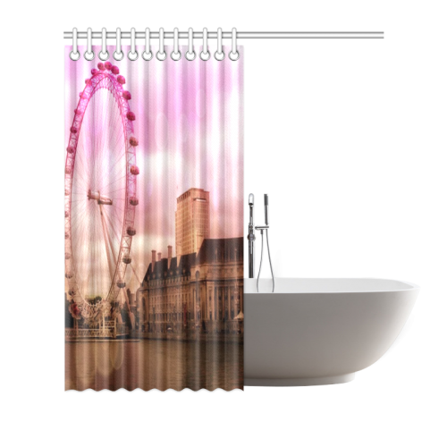 "Travel-London, pink Shower Curtain 66""x72"""