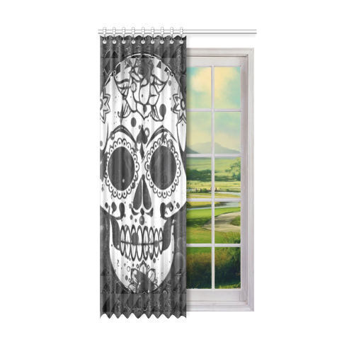 "black and white Skull Window Curtain 52"" x96""(One Piece)"