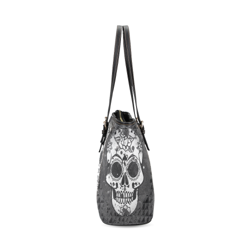 black and white Skull Leather Tote Bag/Large (Model 1640)