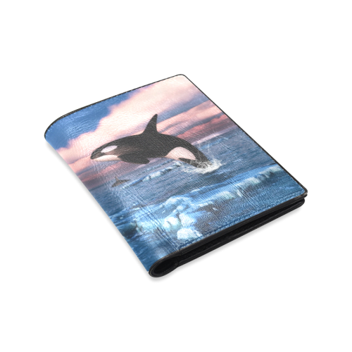 Killer Whales In The Arctic Ocean Men's Leather Wallet (Model 1612)