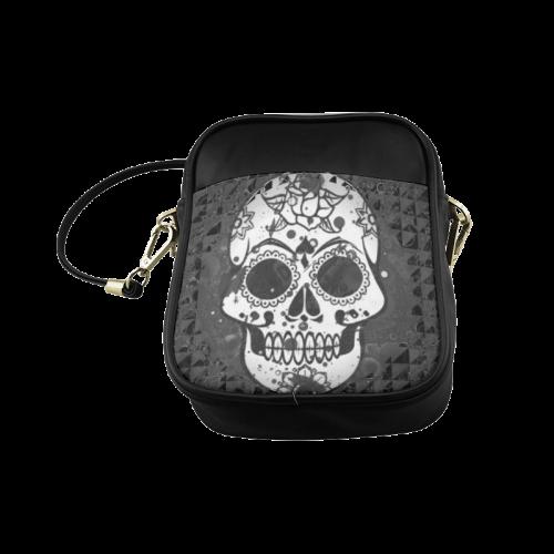 black and white Skull Sling Bag (Model 1627)