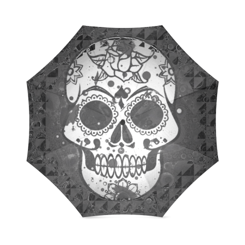 black and white Skull Foldable Umbrella (Model U01)