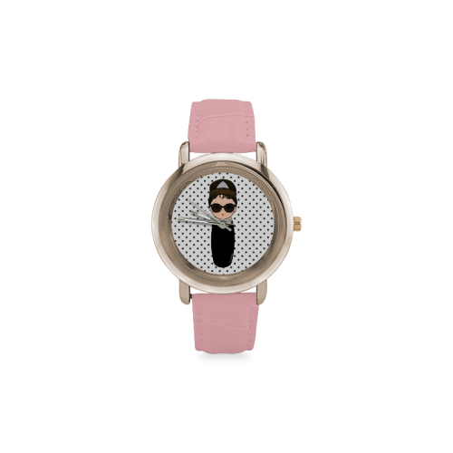 Kokeshi Audrey Hepburn Women's Rose Gold Leather Strap Watch(Model 201)