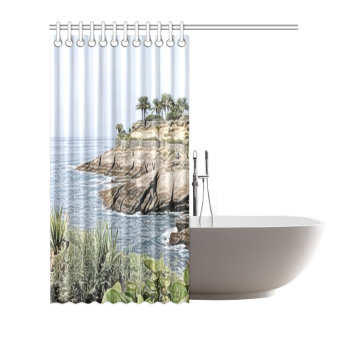 "Travel Tenerife, painted Shower Curtain 66""x72"""