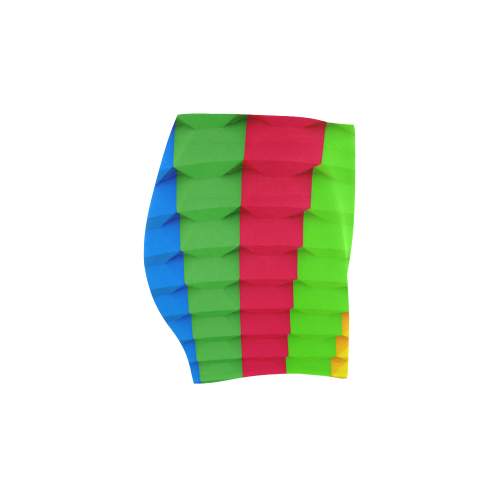 Colorful 3D Geometric Blocks Briseis Skinny Shorts (Model L04)