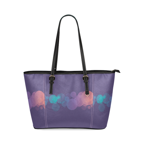 Colorful Bokeh Glitter Discs Leather Tote Bag/Large (Model 1640)