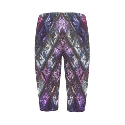 rhombus, diamond patterned lilac Hestia Cropped Leggings (Model L03)
