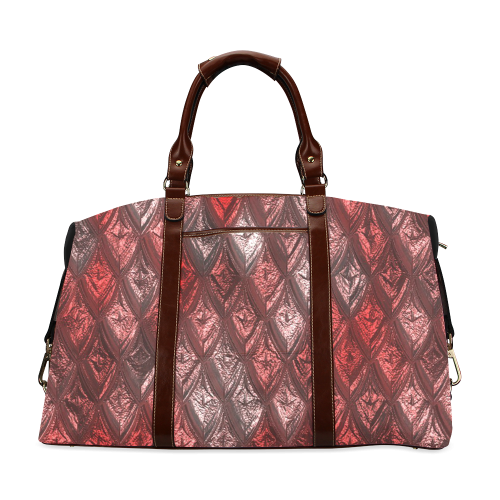 rhombus, diamond patterned red Classic Travel Bag (Model 1643)