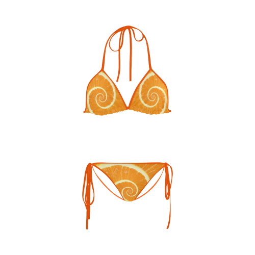 Citrus Orange Spiral Droste Custom Bikini Swimsuit