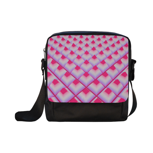 Pink 3D Pyramids Crossbody Nylon Bags (Model 1633)