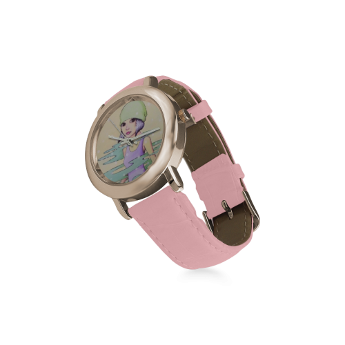 Green Women's Rose Gold Leather Strap Watch(Model 201)