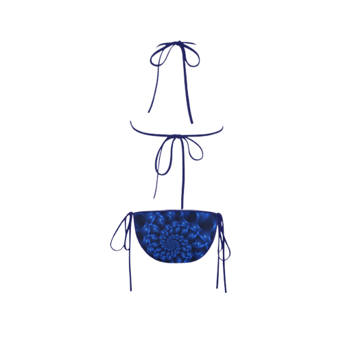 Glossy Blue Spiral Fractal Custom Bikini Swimsuit