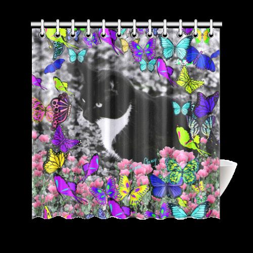 "Freckles in Butterflies II Black White Tuxedo Cat Shower Curtain 69""x70"""