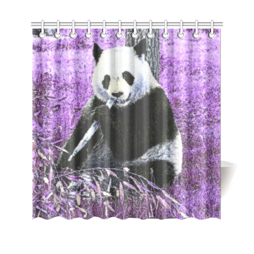 Funky Lilac Panda Shower Curtain 69x70