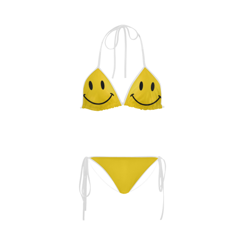 Happy Yellow Smiley Custom Bikini Swimsuit