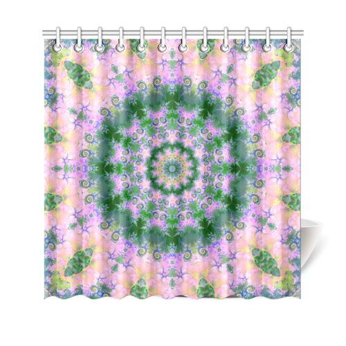 """Rose Pink Green Explosion of Flowers Mandala Shower Curtain 69""""x70"""""""