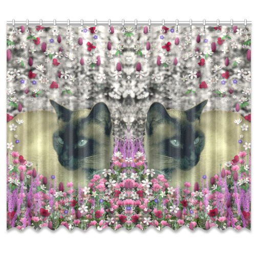 "Stella in Flowers I Chocolate Cream Siamese Cat Window Curtain 50""x84""(Two Piece)"
