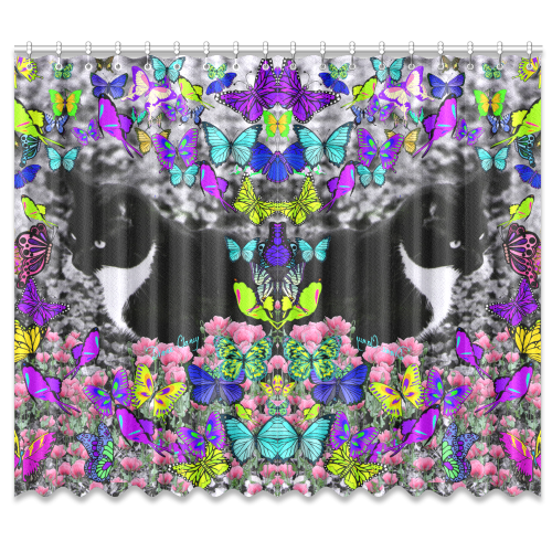 """Freckles in Butterflies II Black White Tuxedo Cat Window Curtain 50""""x84""""(Two Piece)"""