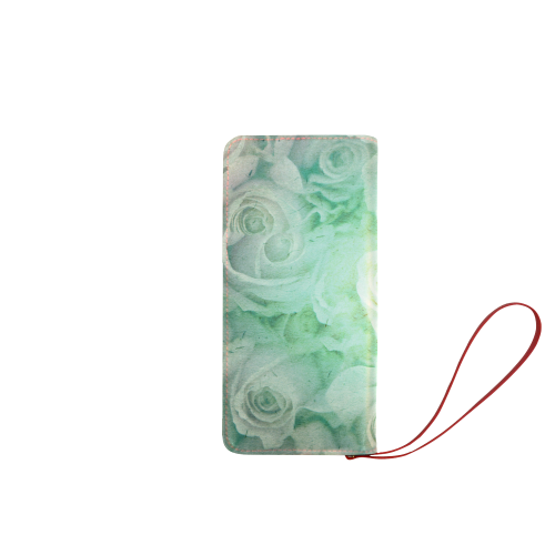 Green flowers Women's Clutch Wallet (Model 1637)