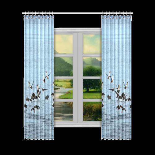 "Flock Off Window Curtain 52""x120""(Two Piece)"