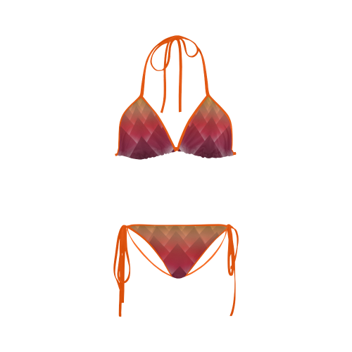 Glowing Red 3D Pyramids Custom Bikini Swimsuit