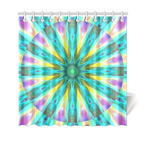 "Golden Violet Peacock Sunrise Abstract Wind Flower Shower Curtain 69""x70"""